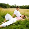 couple in love relaxing in grass